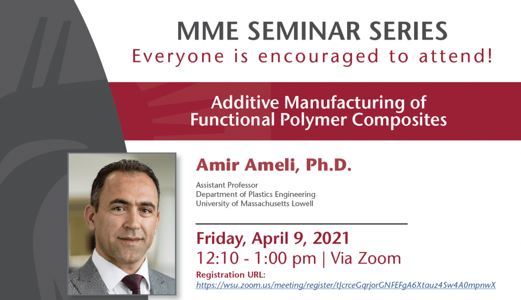 Amir Ameli speaking on Additive Manufacturing of Functional Polymer Composites