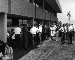 Individuals gather for an event at WSU Tri-Cities in 1958