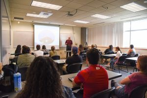 Grace Clinic CEO Mark Brault presents to WSU Tri-Cities psychology students about the clinic and the services they offer