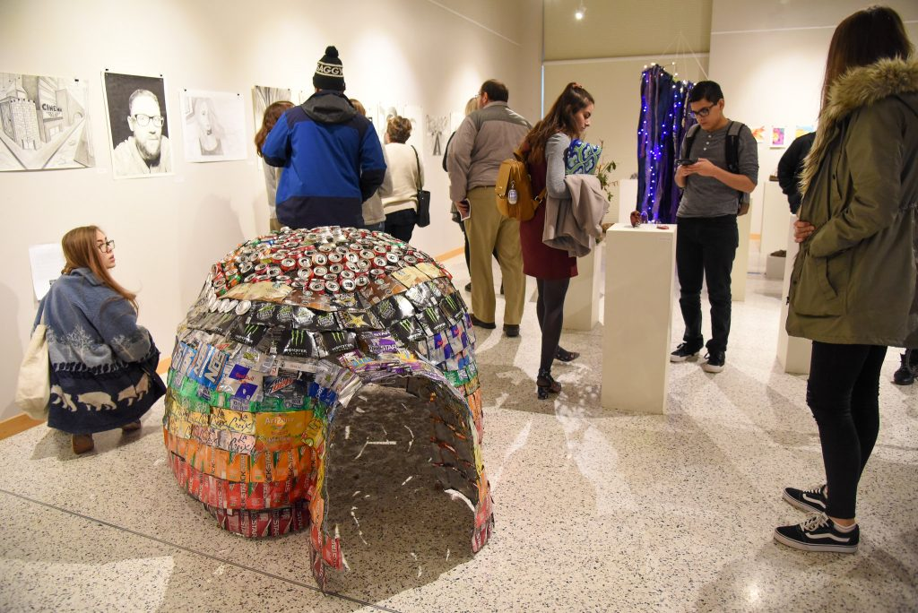Student present their art and digital technology and culture projects during the Undergraduate Research Symposium and Art Exhibition at WSU Tri-Cities.