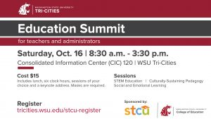 Education summit flyer displaying same information as this calendar post