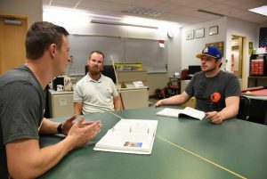 WSU Tri-Cities student Peter Nolan works with his peers in the Veterans Center on campus
