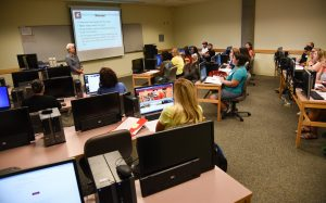 Judy Morrison instructs a class at WSU Tri-Cities