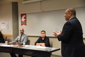 Instructor Semi Bird talks with participants in a leadership course at WSU Tri-Cities