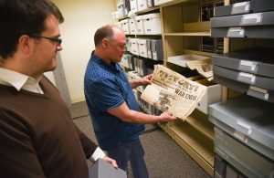 Robert Franklin and Mike Mays in the Hanford Collection archives at WSU Tri-Cities