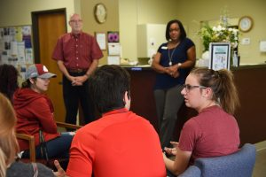 WSU Tri-Cities students talk with Grace Clinic leadership about the resources they offer through the clinic