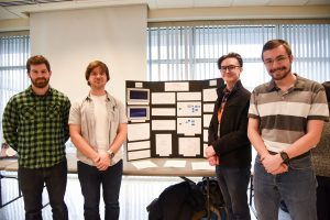 WSU Tri-Cities student team poses with their PNNL mentor with their project board for computer science technology
