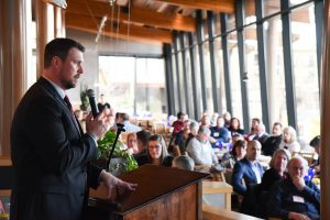 Ryan Leaf speaks as part of the Point to Success Brunch at Anthony's at Columbia Point in Richland