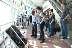 WSU Tri-Cities electrical engineering student Arthur Baranovskiy and his team present their solar panel project they designed as part of their engineering capstone course