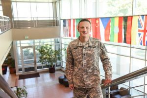 Student Peter Nolan in uniform at WSU Tri-Cities