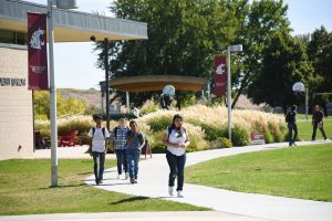 WSU Tri-Cities students walk to class during a passing period