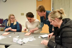 Elson S. Floyd College of Medicine students practice their suturing skills during an intersession week at WSU Tri-Cities