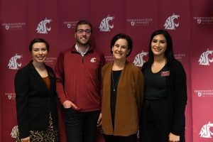 From Left: Kristine Cody, coordinator for the Center for MOSAIC Center for Student Inclusion, ASWSUTC President Zachary Harper, WSU Tri-Cities Chancellor Sandra Haynes and ASWSUTC Vice President Savanna Navarro Kresse.