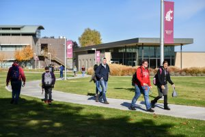 Students walk to and from classes at WSU Tri-Cities
