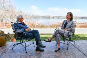 Bob Ferguson (left) chats with WSU Tri-Cities Chancellor Sandra Haynes