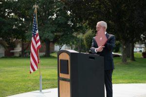 "Retired Gen. James Mattis is presented as a ""WSU Honorary Alumnus"" at the Stories Veterans Memorial dedication"