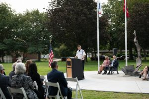 Art King, chaplain for the Veterans of Foreign Wars Post 5785, speaks to the significance of the Stories Veterans Memorial expansion as part of a dedication this week.