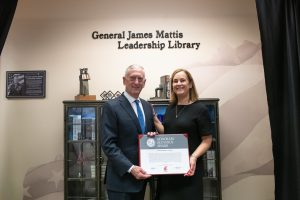 Retired Gen. James Mattis, former U.S. Secretary of Defense, poses for a photo with WSU Tri-Cities Chancellor Sandra Haynes in the newly unveiled General James Mattis Leadership Library located in the WSU Tri-Cities Veterans Center.