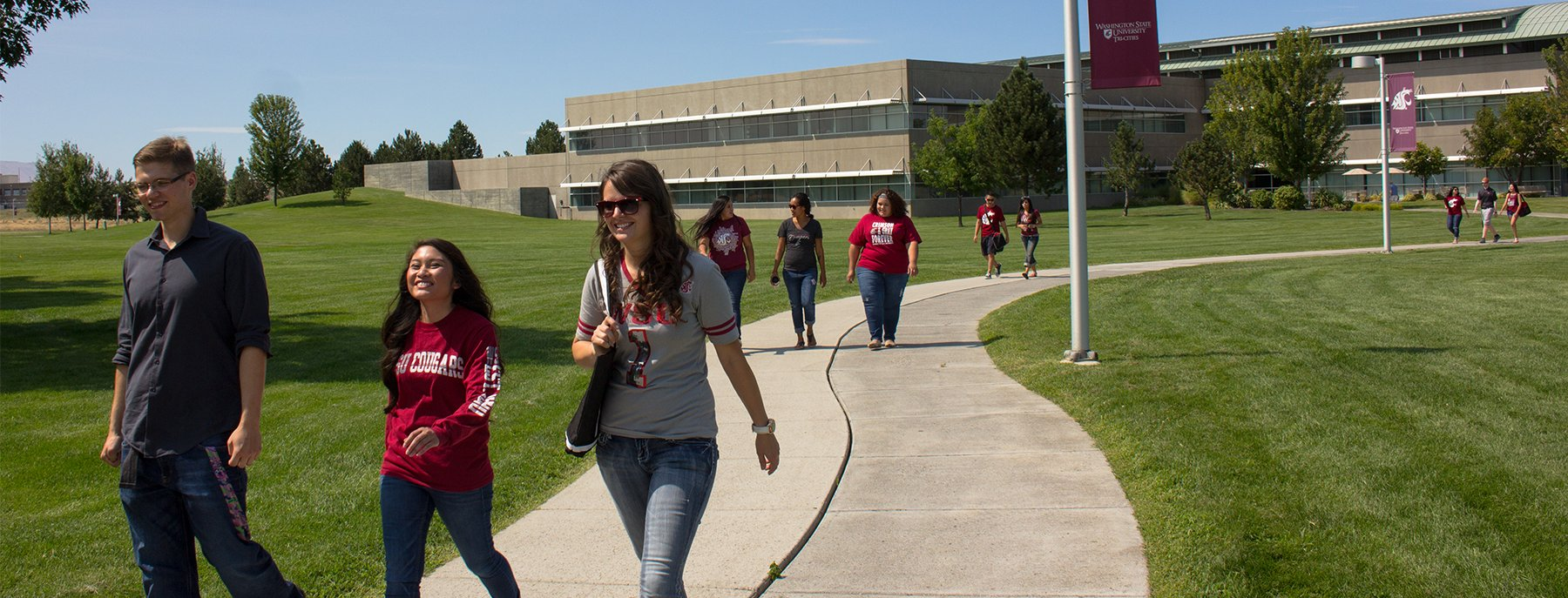 students walking on a path