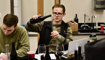 Andrew Gerow testing wine in his Blended Learning class at WSU.