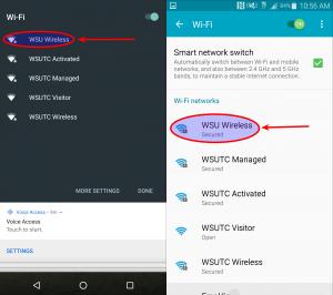 Tap on the WSU Wireless network