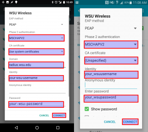 Select, PEAP, MSCHAPv2, Use system certificates if available, radius.wsu.edu domain, WSU username, WSU password