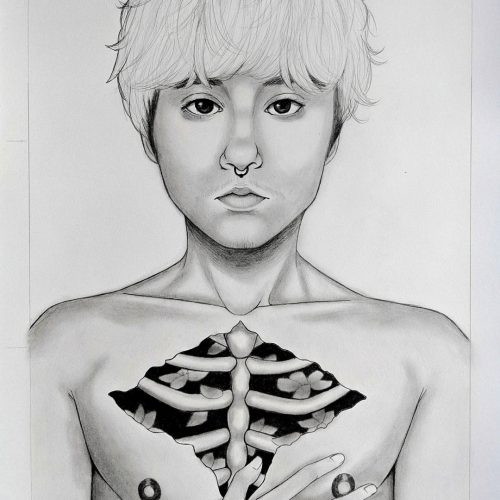 A pencil drawing of a shirtless person with a hand on their chest and their ribs are visible.