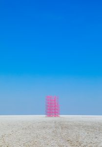 """A Pink Scaffold in the Great Rann (Kutch, India) by Avantika Bawa, WSU Vancouver associate professor of fine art"