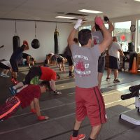 Boxing club working out