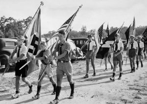 Parade of the youth group of the German-American Bund on Long Island, 1936
