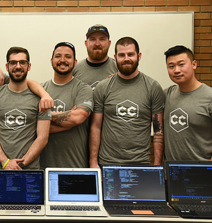 Computer Science students with computers