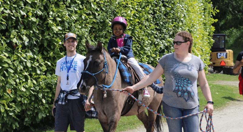 A Camp Korey participant rides a horse as she is accompanied by camp staff.