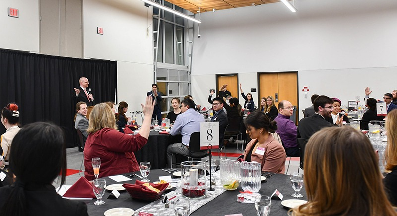 Chris Meiers speaks at the WSU Tri-Cities Etiquette Dinner