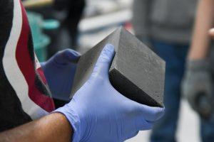 A block made from an ultra-high performance grout being developed by WSU Tri-Cities civil engineering researchers