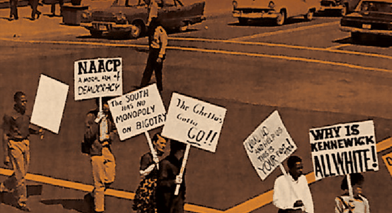 Historical photograph depicting a protest in the Tri-Cities when the community was segregated.