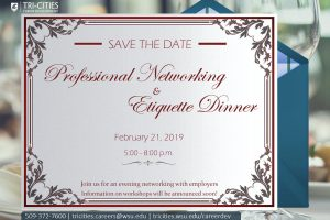 Save the Date Professional Networking and Etiquette Dinner 2019