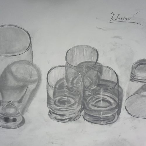 drawing of drinking glasses
