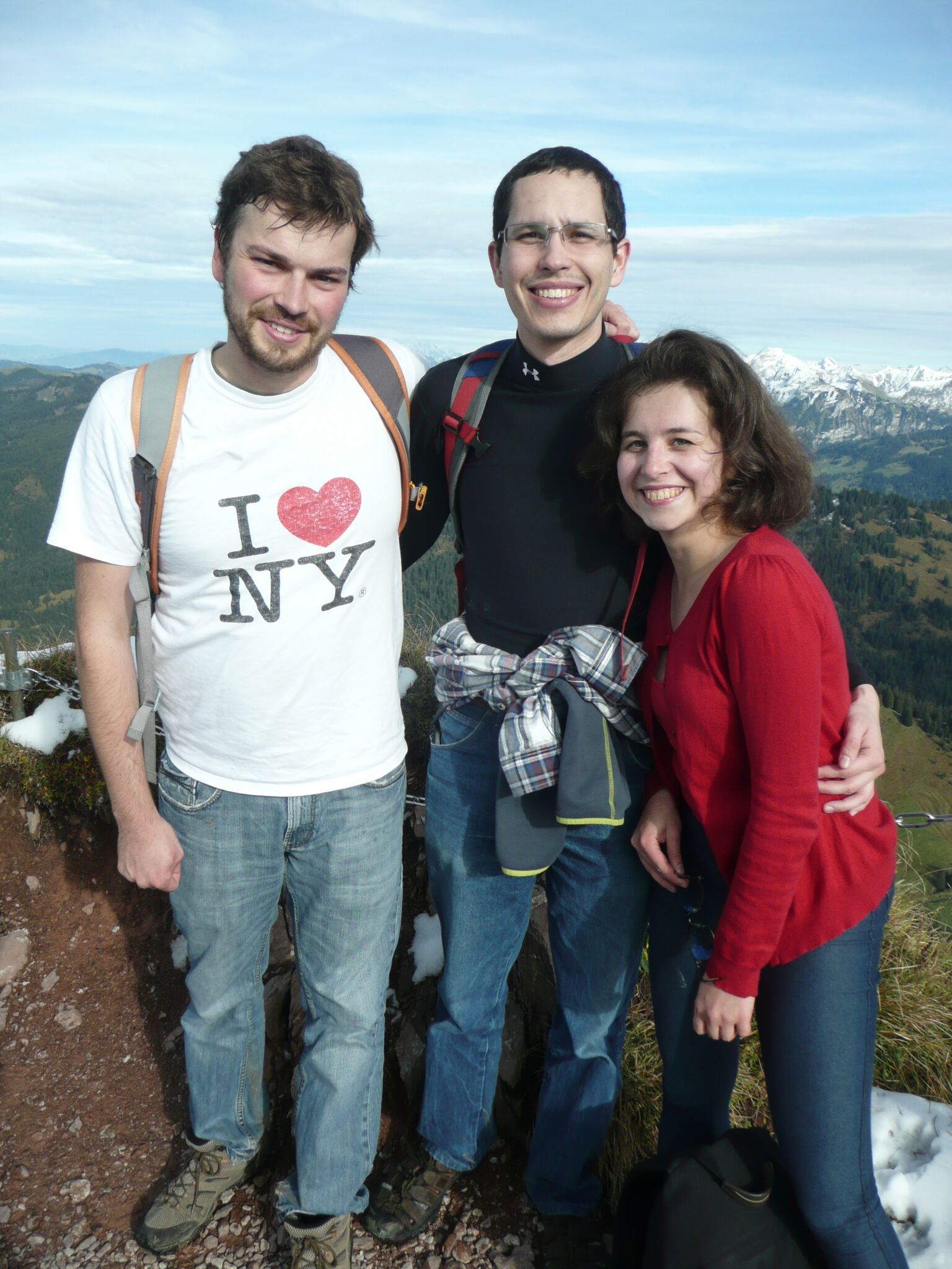 Student Andrew Porter with friends in Switzerland