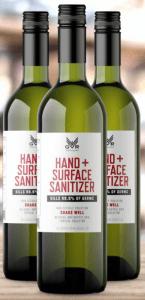 Bottles of GR Distillery Hand & Surface Sanitizer