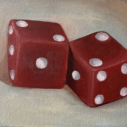 still life oil painting of 2 red dice