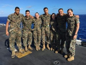 Bernadette Gagnier with her fellow Marines