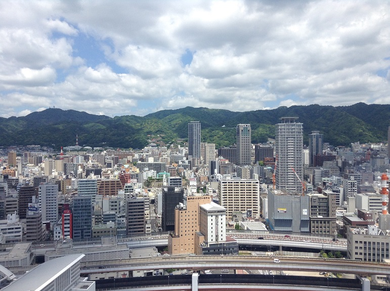 Scenic view of Japanese city