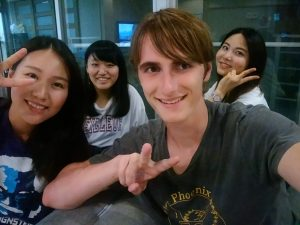 Anthony Michel and friends while studying abroad in Japan
