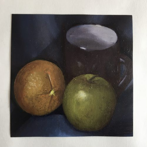 oil painting of an orange, apple, and a cup