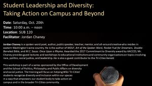 student leadership & diversity: taking action on campus and beyond