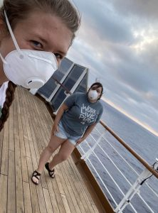 Mariah Brush and co-worker on a cruise ship amid COVID-19