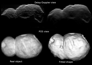 To check the accuracy of their computer model, the researchers compared their results to clay models of asteroids. The bottom right image comes from the computer model, and the bottom left is an image of the model asteroid.