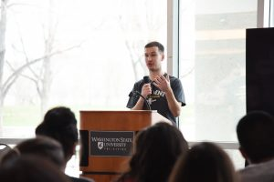 Nikita Fisenko gives a presentation at WSU Tri-Cities