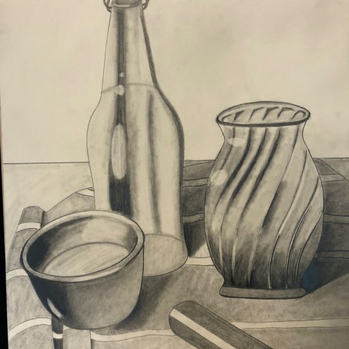 graphite drawing of a bowl, vase,