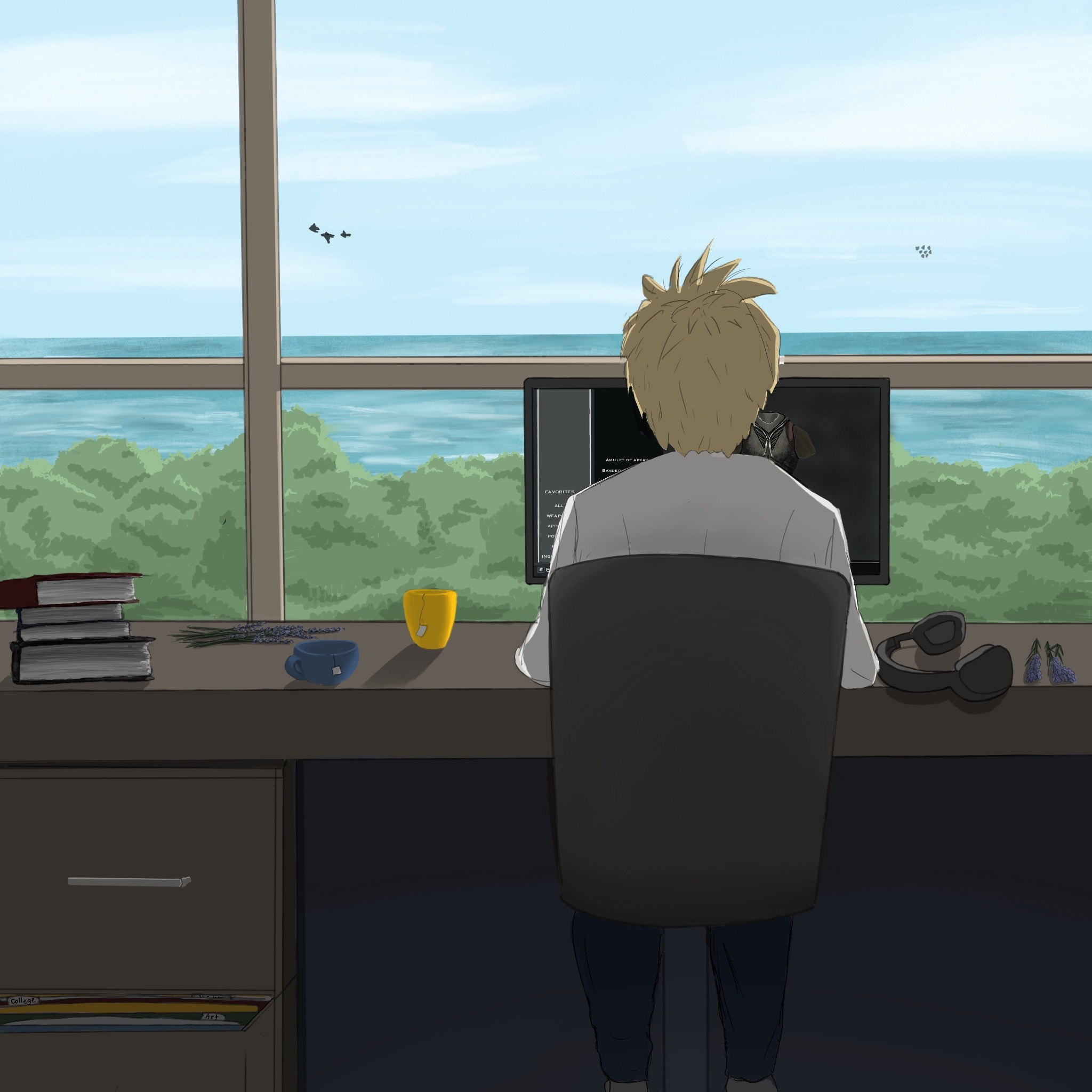 Man working at desk with beautiful ocean view.